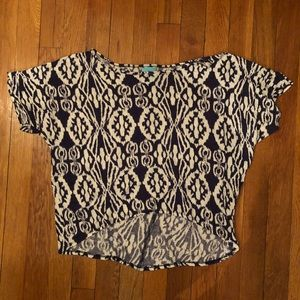 Navy and White Tribal Print Slightly Cropped Top